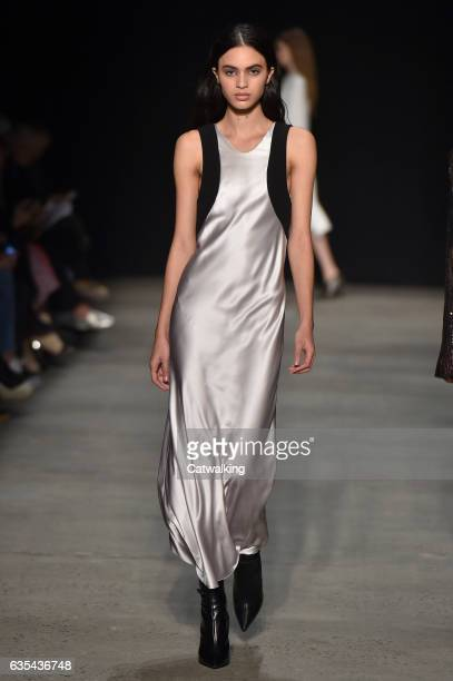 Model walks the runway at the Narciso Rodriguez Autumn Winter 2017 fashion show during New York Fashion Week on February 14, 2017 in New York, United...