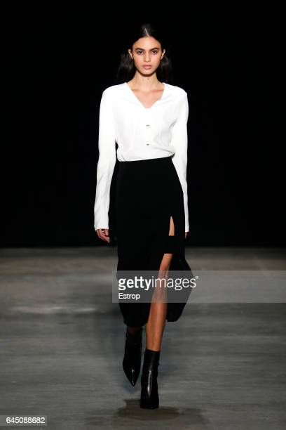A model walks the runway at the Narciso Rodriguez show during the New York Fashion Week February 2017 collections on February 14 2017 in New York City