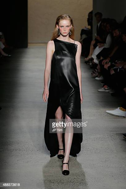 A model walks the runway at the Narciso Rodriguez Spring 2016 fashion show during New York Fashion Week at SIR Stage 37 on September 15 2015 in New...