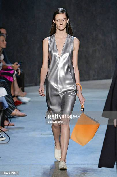 A model walks the runway at the Narciso Rodriguez Spring Summer 2017 fashion show during New York Fashion Week on September 13 2016 in New York...