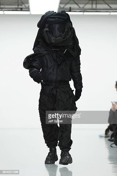 A model walks the runway at the Nasir Mazhar show during The London Collections Men AW16 at Victoria House on January 8 2016 in London England