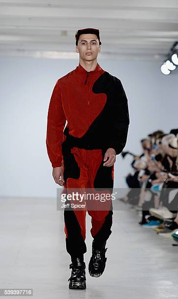 A model walks the runway at the Nasir Mazhar show during The London Collections Men SS17 at BFC Show Space on June 11 2016 in London England