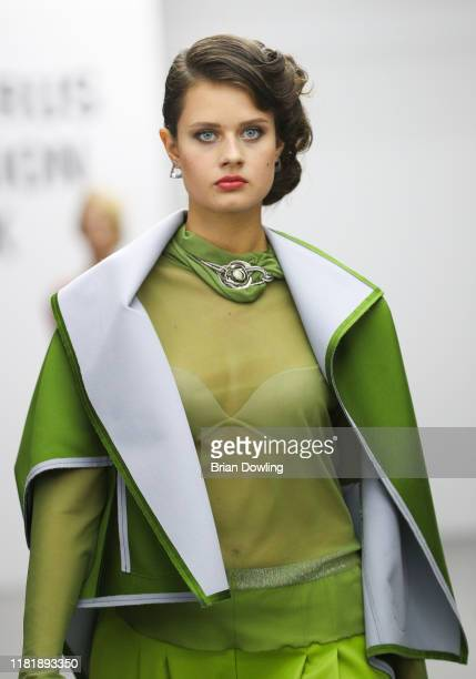 Model walks the runway at the Natalia Korzh fashion show during Belarus Fashion Week Spring/Summer 2020 on October 18, 2019 in Minsk, Belarus.