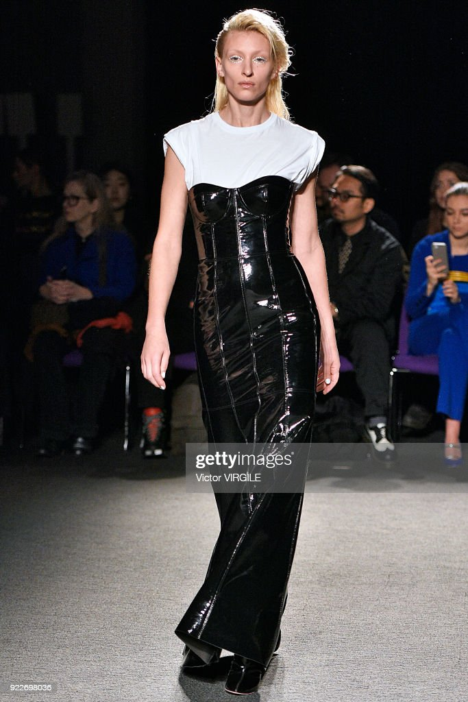 A model walks the runway at the Natasha Zinko Ready to Wear Fall/Winter 2018-2019 fashion show during London Fashion Week February 2018 on February 20, 2018 in London, England.