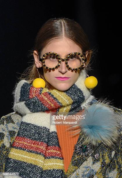A model walks the runway at the Naulover show during the Barcelona 080 Fashion Week Autumn/Winter 2016/2017 at Casa Llotja de Mar on February 3 2016...