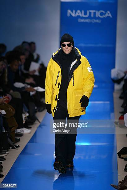 Model walks the runway at the Nautica fashion show during Olympus Fashion Week at Bryant Park February 6, 2004 in New York City.