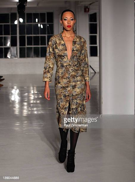 A model walks the runway at the Negris Lebrum 2012 fashion show during MercedesBenz Fashion Week at Studio 450 on February 15 2012 in New York City