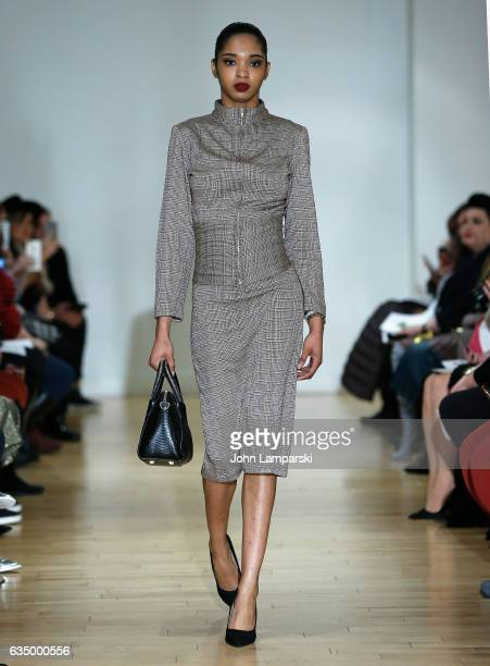 A model walks the runway at the Negris Lebrum fashion show during the 2017 New York Fashion Week at Studio Arte on February 12 2017 in New York City