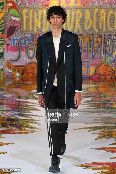 A model walks the runway at the Neil Barrett fashion show at the Milan Men's Fashion Week Spring/Summer 2020 on June 15 2019 in Milan Italy