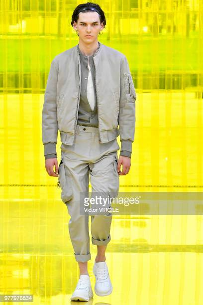A model walks the runway at the Neil Barrett fashion show during Milan Men's Fashion Week Spring/Summer 2019 on June 16 2018 in Milan Italy