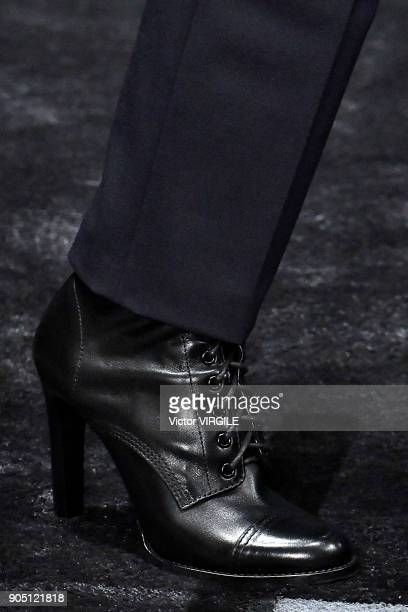 A model walks the runway at the Neil Barrett show during Milan Men's Fashion Week Fall/Winter 2018/19 on January 13 2018 in Milan Italy