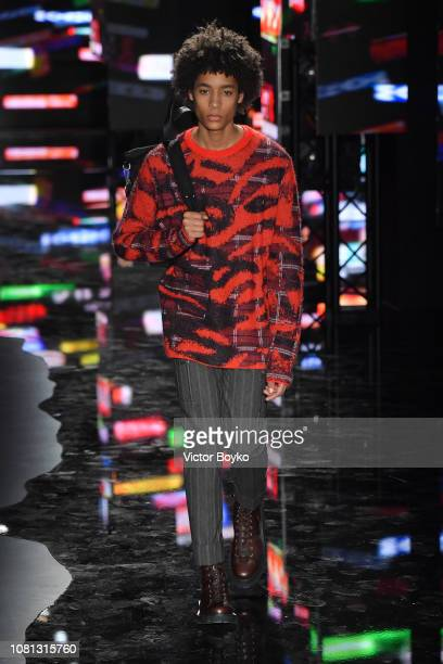 A model walks the runway at the Neil Barrett show during Milan Menswear Fashion Week Autumn/Winter 2019/20 on January 12 2019 in Milan Italy