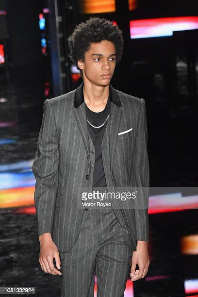 Model walks the runway at the Neil Barrett show during Milan Menswear Fashion Week Autumn/Winter 2019/20 on January 12, 2019 in Milan, Italy.