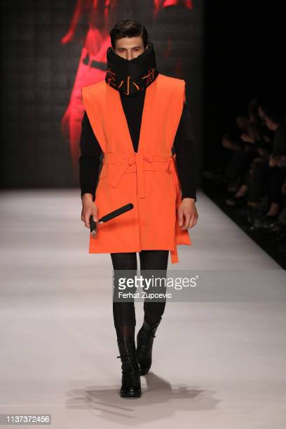 Model walks the runway at the New GEN by IMA show during Mercedes-Benz Istanbul Fashion Week at Zorlu Performance Hall on March 21, 2019 in Istanbul,...