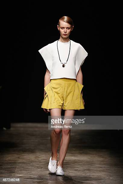 A model walks the runway at the New Gen I show during Mercedes Benz Fashion Week Istanbul SS15 at Antrepo 3 on October 15 2014 in Istanbul Turkey