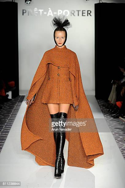 A model walks the runway at the Nicci Hon fashion show during the PretAPorter fashion collection at Affinia Hotel on February 14 2016 in New York City