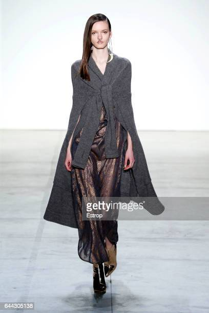 A model walks the runway at the Nicholas K designed by Christopher Nicholas Kun show during the New York Fashion Week February 2017 collections on...