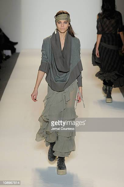 A model walks the runway at the Nicholas K Fall 2011 fashion show during MercedesBenz Fashion Week at The Studio at Lincoln Center on February 10...