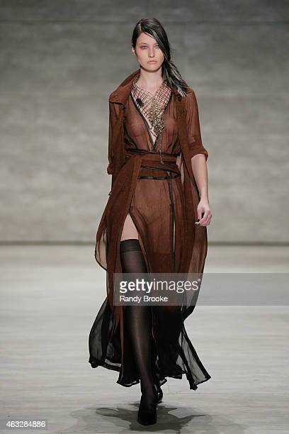 A model walks the runway at the Nicholas K fashion show during MercedesBenz Fashion Week Fall 2015 at The Pavilion at Lincoln Center on February 12...
