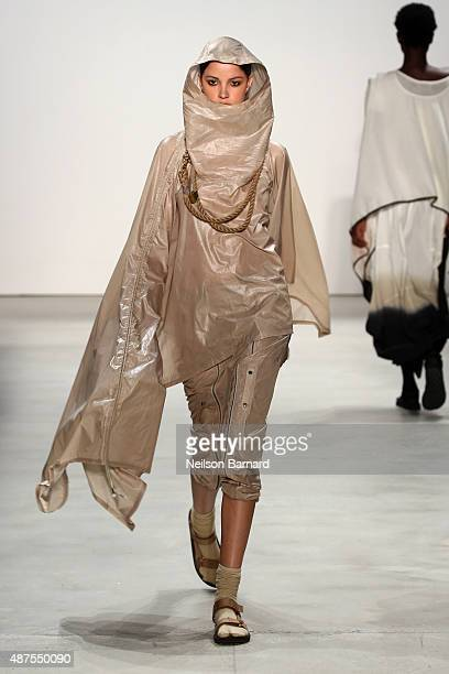 A model walks the runway at the Nicholas K fashion show during Spring 2016 New York Fashion Week The Shows at The Gallery Skylight at Clarkson Sq on...