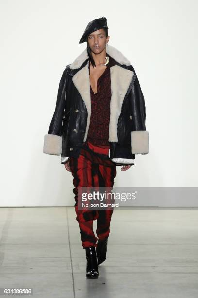 A model walks the runway at the Nicholas K show during New York Fashion Week The Shows at Gallery 2 Skylight Clarkson Sq on February 9 2017 in New...