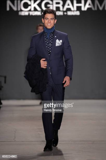 A model walks the runway at the Nick Graham Runway show during NYFW Mens at Skylight Clarkson North on January 31 2017 in New York City