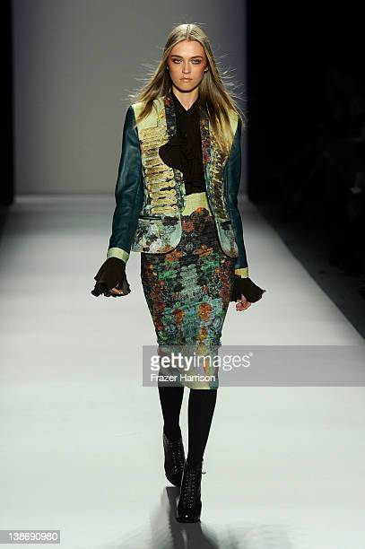 A model walks the runway at the Nicole Miller Fall 2012 fashion show during MercedesBenz Fashion Week at The Studio at Lincoln Center on February 10...
