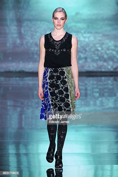 Model walks the runway at the Nicole Miller fashion show at The Salon at Lincoln Center on February 13, 2015 in New York City.