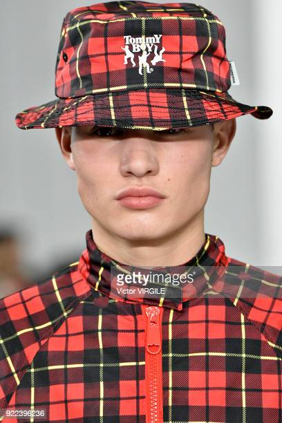 A model walks the runway at the Nicopanda Ready to Wear Fall/Winter 20182019 fashion show during London Fashion Week February 2018 on February 19...
