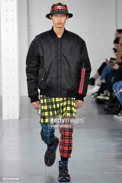 Model walks the runway at the Nicopanda Ready to Wear Fall/Winter 2018-2019 fashion show during London Fashion Week February 2018 on February 19,...