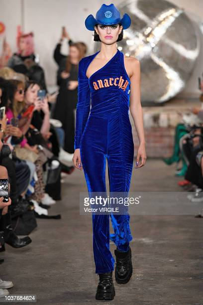 Model walks the runway at the Nicopanda Ready to Wear Spring/Summer 2019 fashion show during London Fashion Week September 2018 on September 14, 2018...