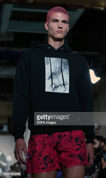 Model walks the runway at the NICOPANDA show during London Fashion Week September 2018 at The BFC Show Space. NICOPANDA is the personal brand of...