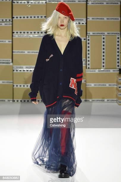 Model walks the runway at the Nicopanda Spring Summer 2018 fashion show during London Fashion Week on September 16, 2017 in London, United Kingdom.