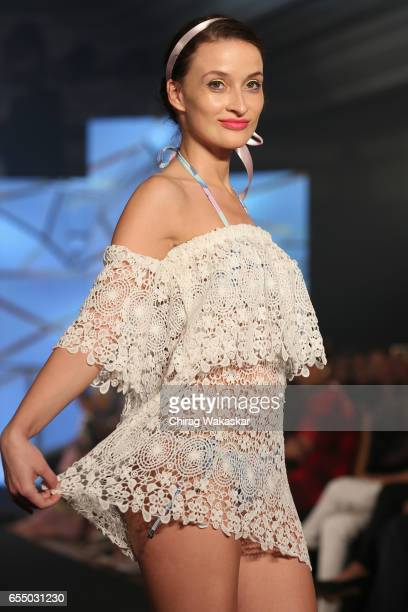 A model walks the runway at the Nidhi Munim show during India Intimate Fashion Week 2017 at Hotel Leela on March 18 2017 in Mumbai India