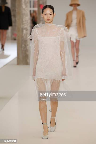 Model walks the runway at the Nina Ricci show at Paris Fashion Week Autumn/Winter 2019/20 on March 1, 2019 in Paris, France.