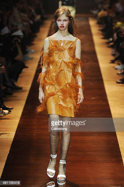 A model walks the runway at the Nina Ricci Spring Summer 2016 fashion show during Paris Fashion Week on October 3 2015 in Paris France