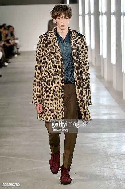 A model walks the runway at the No21 Autumn Winter 2016 fashion show during Milan Menswear Fashion Week on January 17 2016 in Milan Italy