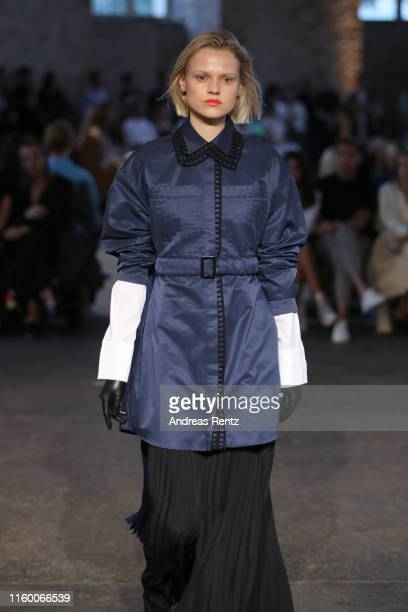 A model walks the runway at the Nobi Talai fashion show during the Berlin Fashion Week Spring/Summer 2020 at Parochialkirche on July 04 2019 in...