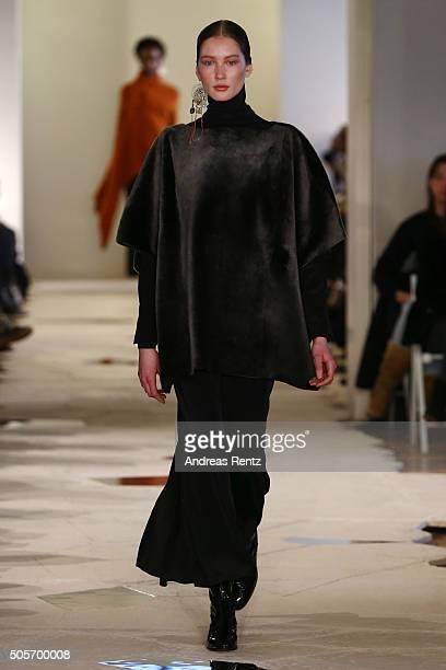 A model walks the runway at the Nobi Talai show as part of Der Berliner Mode Salon during the MercedesBenz Fashion Week Berlin Autumn/Winter 2016 at...