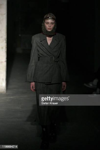 A model walks the runway at the Nobi Talai show during Berlin Fashion Week Autumn/Winter 2020 at Kraftwerk Mitte on January 15 2020 in Berlin Germany