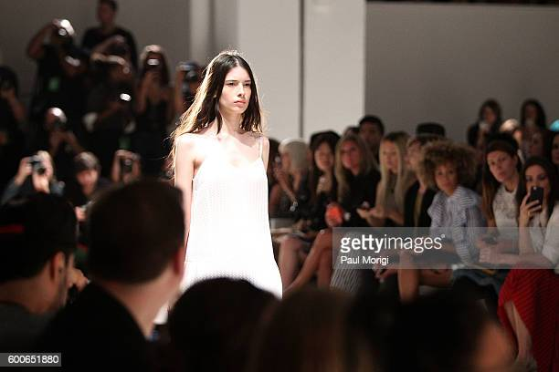 A model walks the runway at the Noon By Noor during New York Fashion Week The Shows September 2016 at The Gallery Skylight at Clarkson Sq on...
