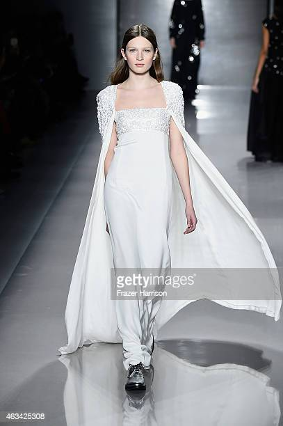 Model walks the runway at the Noon By Noor fashion show during Mercedes-Benz Fashion Week Fall 2015 at The Salon at Lincoln Center on February 14,...