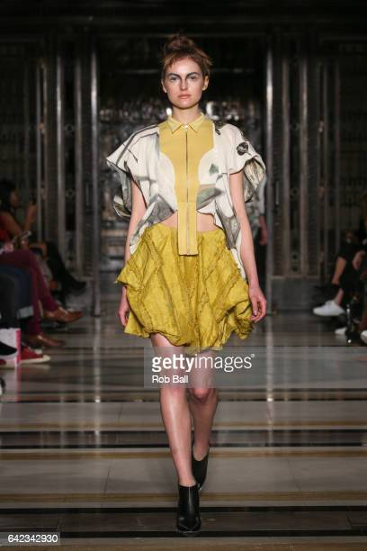 A model walks the runway at the NS Gaia show at Fashion Scout during the London Fashion Week February 2017 collections on February 17 2017 in London...