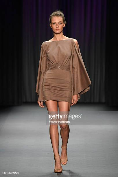 A model walks the runway at the Oday Shakar fashion show during New York Fashion Week The Shows at The Dock Skylight at Moynihan Station on September...