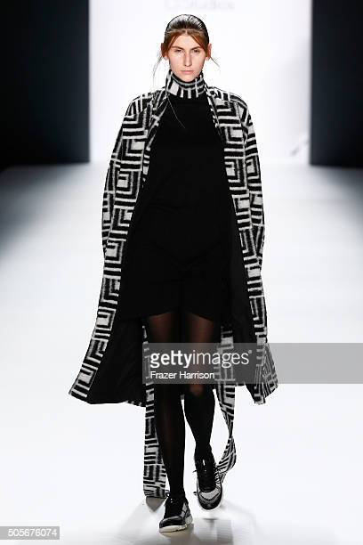 A model walks the runway at the Odeur show during the MercedesBenz Fashion Week Berlin Autumn/Winter 2016 at Brandenburg Gate on January 19 2016 in...
