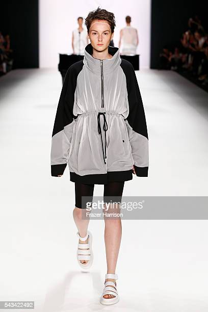 A model walks the runway at the Odeur show during the MercedesBenz Fashion Week Berlin Spring/Summer 2017 at Erika Hess Eisstadion on June 28 2016 in...
