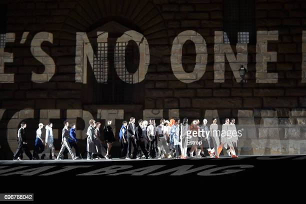 A model walks the runway at the Off White show during 92 Pitti Immagine Uomo on June 15 2017 in Florence Italy