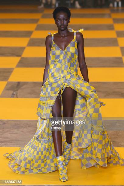 Model walks the runway at the Off-White show at Paris Fashion Week Autumn/Winter 2019/20 on February 28, 2019 in Paris, France.