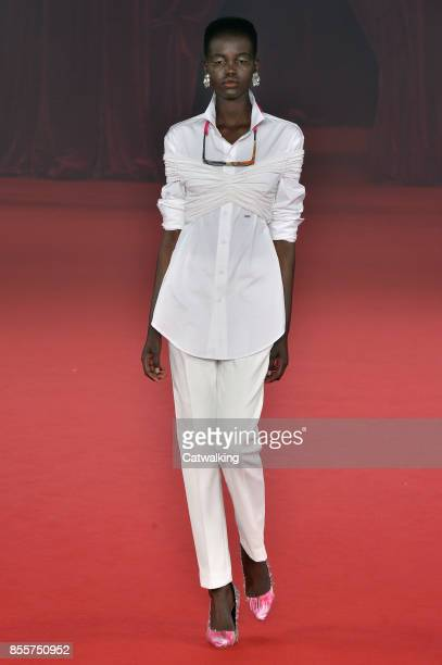 A model walks the runway at the Offwhite Spring Summer 2018 fashion show during Paris Fashion Week on September 28 2017 in Paris France