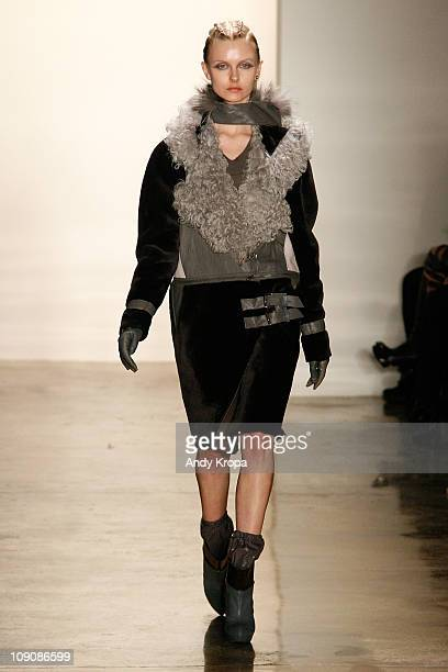 Model walks the runway at the Ohne Titel Fall 2011 fashion show during Mercedes-Benz Fashion Week at Milk Studios on February 14, 2011 in New York...